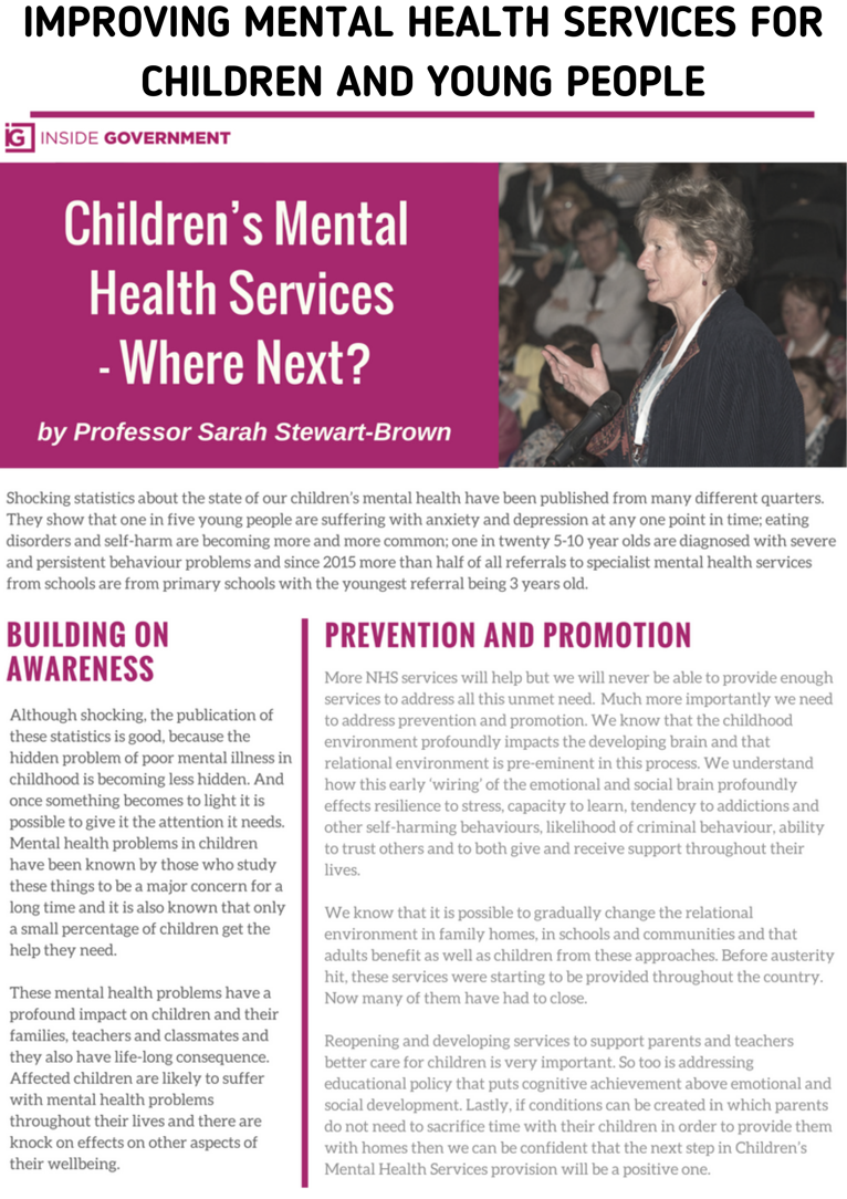 IMPROVING MENTAL HEALTH SERVICES FOR CHILDREN AND YOUNG PEOPLE