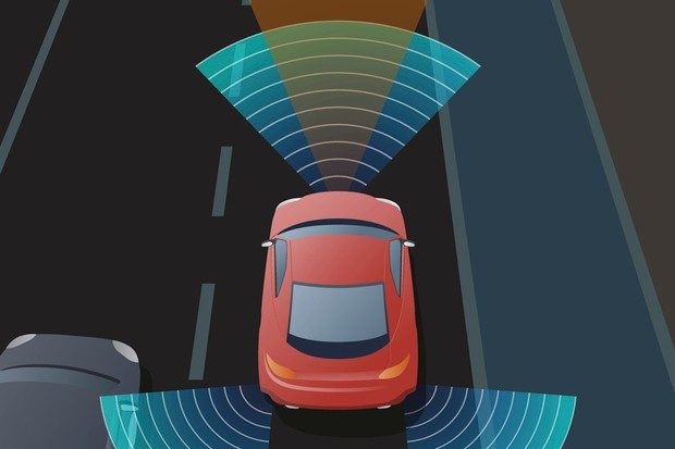 Advanced Driving Assistant System (ADAS), Blind Spot Monitoring shown on a red car on the road showing the sensor area.